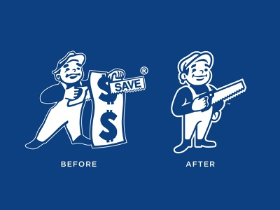 Before/After Dunn Lumber Mascot saw logo mascot rebranding rebrand