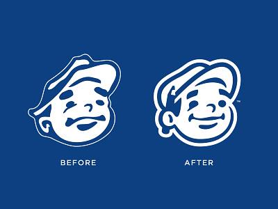 Before/After Dunn Lumber Mascot 2 pencil hat smile man rebranding rebrand character logo mascot