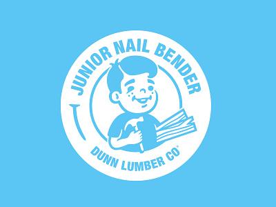 Kid Mascot Seal hammer wood nails branding mascot logo seal