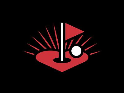 Flatstick Cares logo design branding heart golf logo