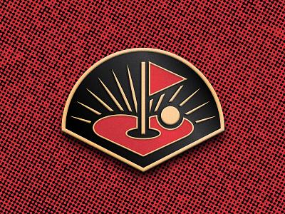 Flatstick Cares Pin gold flag golf heart lapel pin pin enamel pin
