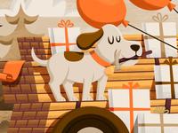 Dog Closeup presents gifts trees lumber balloons hammer puppy dog