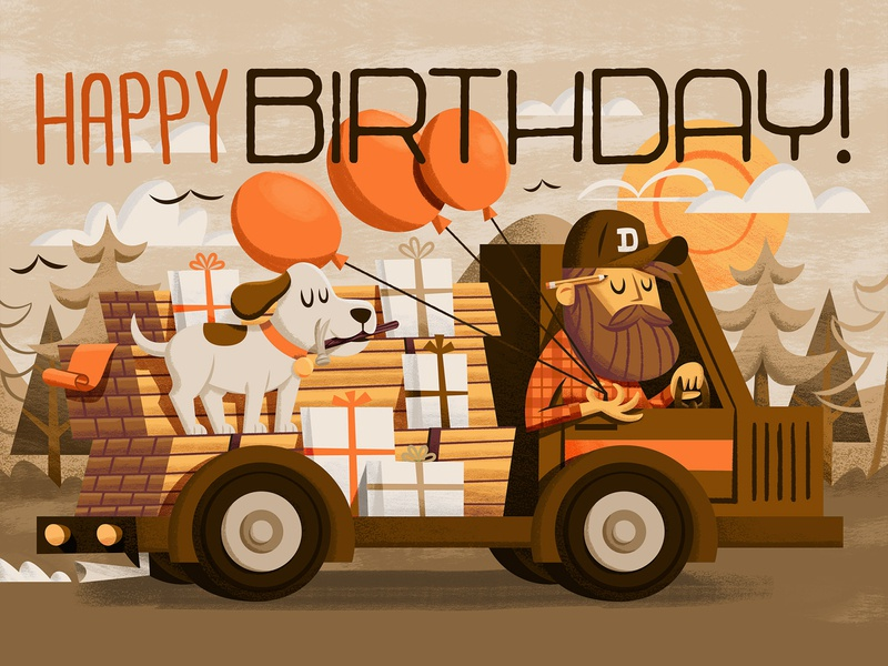Birthday Card gifts presents lumber wood truck sun trees balloons balloon hammer pencil beard dog birthday birthday card