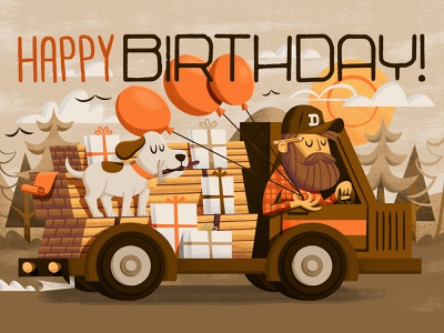 Birthday Card gifts presents lumber wood truck sun trees balloons balloon hammer pencil beard dog birthday birthday card