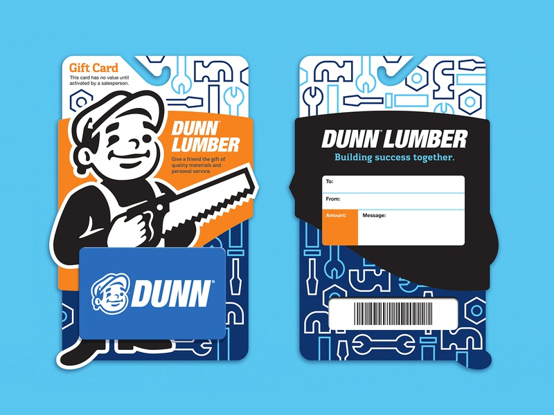 Dunn Lumber Gift Cards bolts screwdriver wrench hammer tools character mascot packaging card gift gift card gift cards