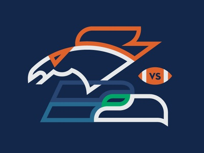 Super Bowl Matchup  seahawks broncos football superbowl super bowl illustration sports seattle denver