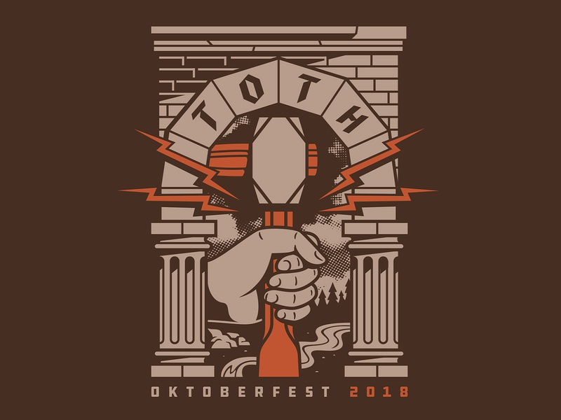 Oktoberfest T-Shirt bricks river trees lightning bolt construction arch architecture pillars chisel hammer hand drawn oktoberfest