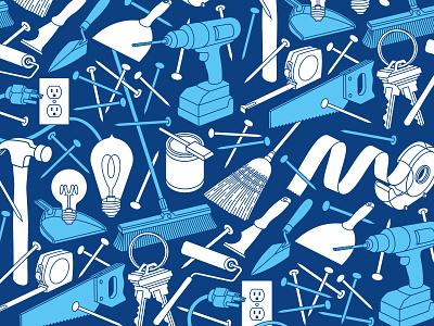 Tool Pattern light bulb nails keys tape measure saw drill hammer tools pattern
