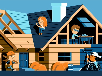 How to Build a House wheelchair saw house build construction mural kids