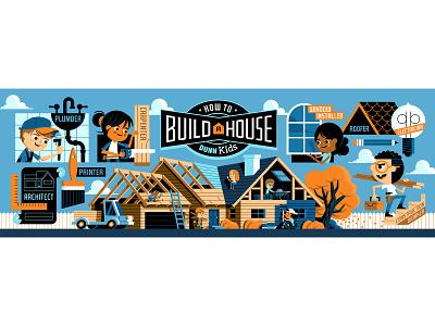 Children's Museum Mural truck build house tools construction kids museum mural