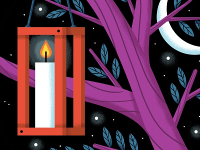 Lantern leaves fire flame candle stars moon night tree lantern