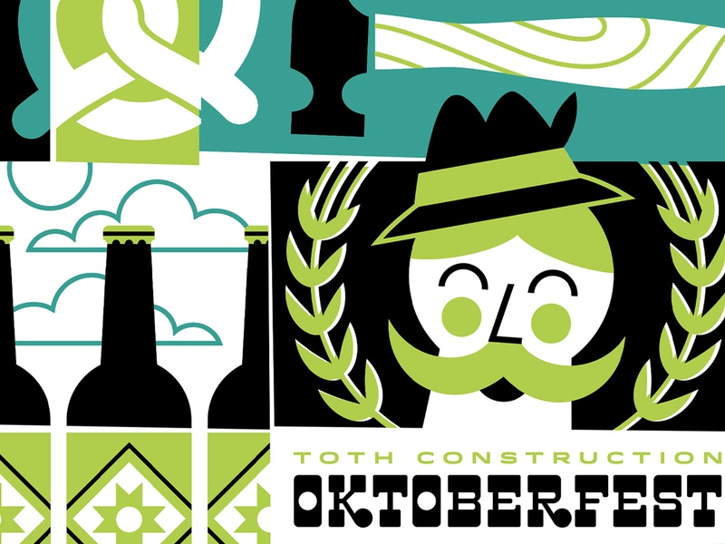 Oktoberfest Crop hat mustache clouds bottles beer pretzels pretzel hammer oktoberfest