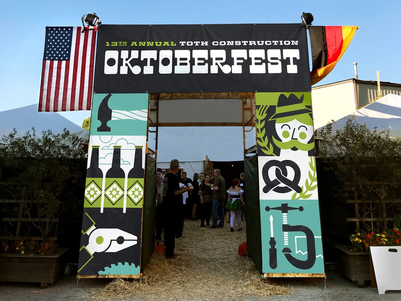 Oktoberfest Signage construction tools hammer screwdriver saw vice mustache pretzel beer oktoberfest