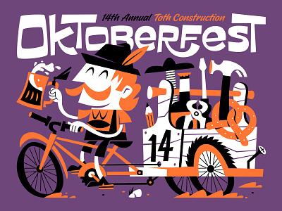 Oktoberfest Poster screwdriver construction toolbox tools hammer pencil wheels rickshaw bicycle bike mustache hat pretzel beer octoberfest oktoberfest