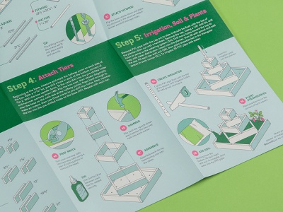 Assembly Guide Detail print design build wood screwdriver plants gardening garden planter strawberries strawberry saw glue screw hammer tools illustration instructions step-by-step infographics infographic