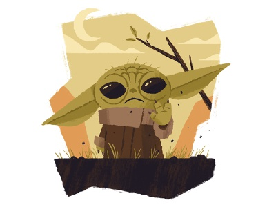 Baby Yoda the mandalorian mandalorian illustration creature moon character space disney plus disney star wars starwars baby yoda yoda