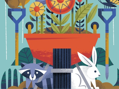 Poster Crop animals wheelbarrow wheel dirt shovel rake flowers garden rabbits rabbit bunny raccoons raccoon