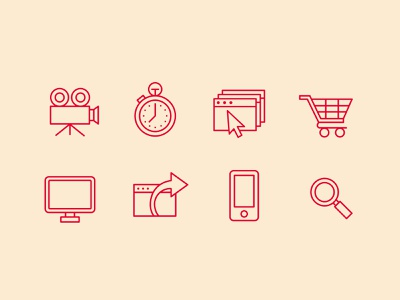 Monoline Icons cursor computer screen tv camera film stopwatch arrow phone iphone magnifying glass shopping cart ui design ui icons monoline icons monoline
