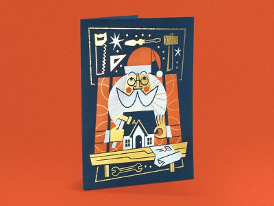 Letterpress Holiday Cards beard glasses saw wrench stars gold foil gold foil letterpress hammer build house workshop santa tools greeting card christmas card christmas holiday card holiday