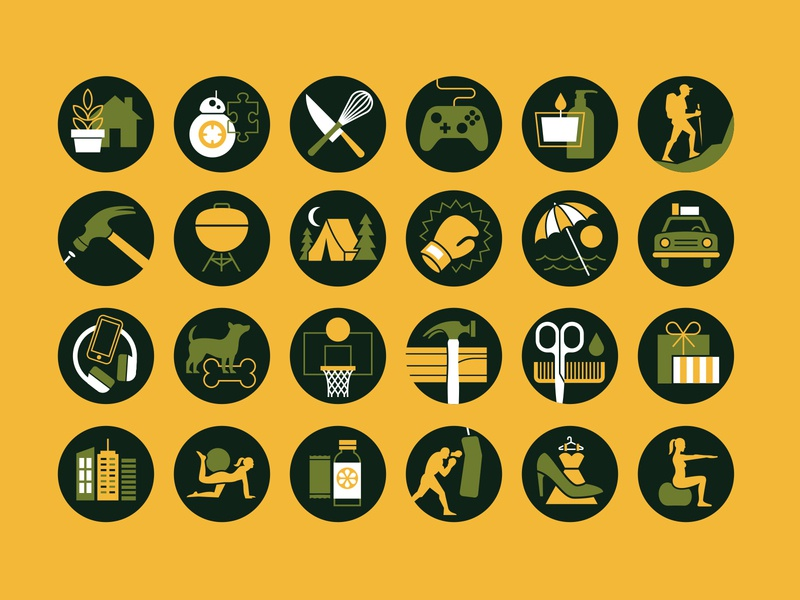 Category Icons bb-8 iconography icons basketball dog headphones umbrella beach hammer bbq hiking candle xbox gaming plant house kitchen star wars starwars bb8