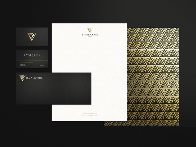 B. Valkyrie Collateral graphicdesign logo pattern art deco classy gold foil gold businesscard envelope letterhead stationary print collateral print design print collateral suite business card business cards brand identity branding