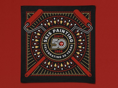 SKIS Painting Bandana swag branding droplet paint paint roller badge typography type logotype 50 years 50 anniversary logo fabric bandana