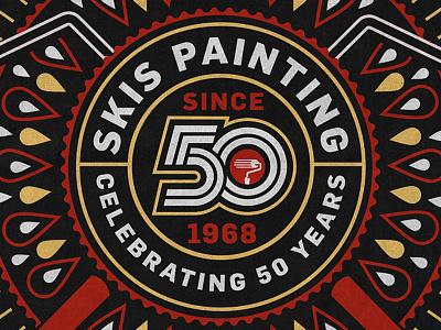 SKIS Painting Bandana (Detail) type droplet bandana badge seal print design graphic design logo anniversary 50 years 50 paint painting