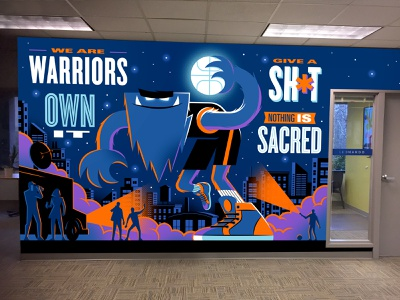 Office Mural wall illustration brand values flashlight newscrew truck stars night skyline city sports shoes sneakers nike basketball monster office mural