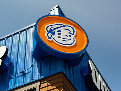 Dunn Lumber Mascot Sign backlit sign building exterior design logo mascot logo signage mascot design mascot