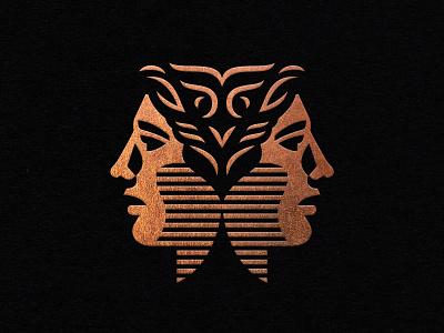 Wisdomist Logo roman janus high end classy gold foil copper foil copper branding logo head face