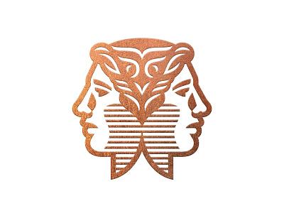 Wisdomist Logo 2 roman human head face foil gold copper classy janus branding logo