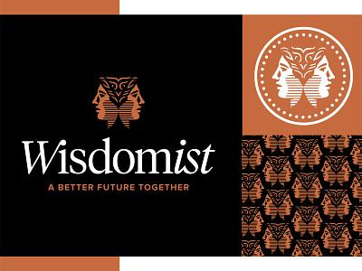 Wisdomist Logo 3 branding classy roman janus icon pattern copper face human design logo