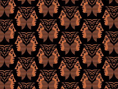 Wisdomist Pattern classy gold copper roman person human head face branding pattern logo