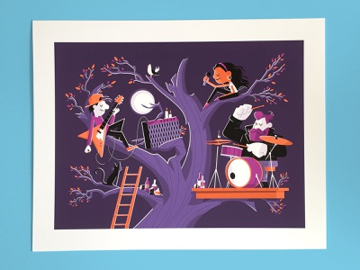 Band Practice Print bird leaves ladder cat moon tree microphone illustration character design characters music electric guitar guitar drummer drums band giclee print giclee art print print