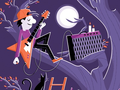Band Practice Print (Detail 2) candles candle music band guitar amp amp hat cat leaves tree electric guitar guitar character character design illustration giclee print giclee art print print shop