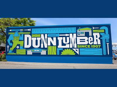 Dunn Lumber Mural letterpress ruler pencil saw blade saw overalls man lumberjack wood lumber store building screws nails power tools tools mural wall mural design mural art mural