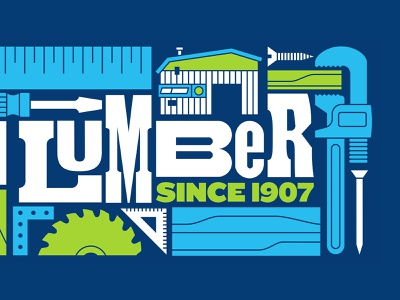 Dunn Lumber Mural (Detail 1) screwdriver nail saw blade saw storefront building illustration power tools tools ruler wood lumber lettering letters typography type mural letterpress
