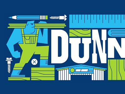 Dunn Lumber Mural (Detail 2) human character design character man power tools tools pencil building storefront ruler lumber wood lettering typography type letterpress adobe illustrator illustration mural design mural