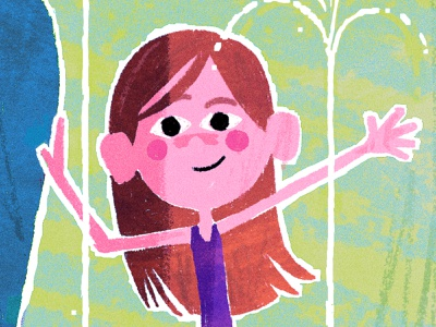 Waterpark Print (Detail) character design summer water park swimsuit art print print giclee childrens book kids illustration girl child kid illustration