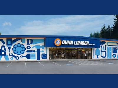 Dunn Lumber Storefront Mural exterior sawblade hacksaw paint lumber wood wrench drill saw hammer paint brush power tools tools building storefront store mural