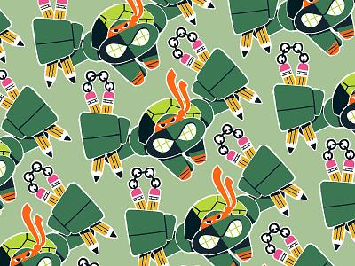 TMNT Pattern pencil nunchucks shell turtle power illustration nostalgia cartoon 90s 80s jump fight turtel ninja ninja turtles nickelodeon teenage mutant ninja turtles tmnt