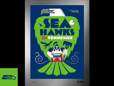 Seahawks Poster (Foil Variant) armor bird hawk tennessee titans tennessee titans seattle seahawks print screenprint poster sports football nfl seattle seahawks