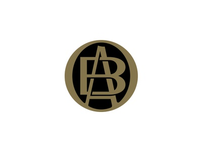 Belief Agency Monogram a b black gold emblem icon logo lettering monogram