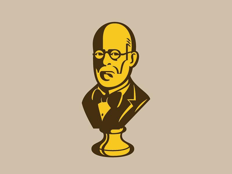 Bust man glasses bow tie portrait bust illustration