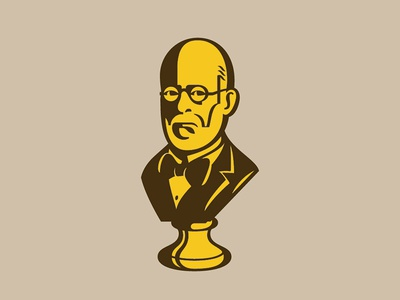 Bust man glasses bow tie portrait bust illustration