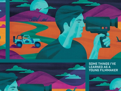 Young Filmmaker car super8 camera film jeep clouds night sky moon dinosaurs jurassic park illustration