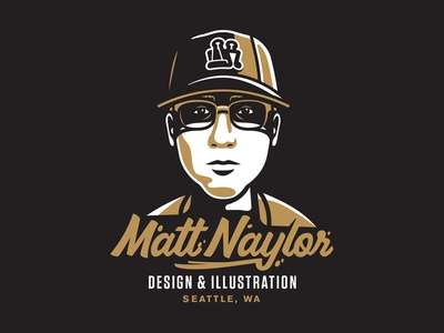 Dot Com gold logo portfolio design lettering type glasses hat portrait illustration