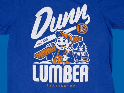 Dunn Lumber Tee seattle script truck pencil tee t-shirt hammer monogram character wood lettering illustration