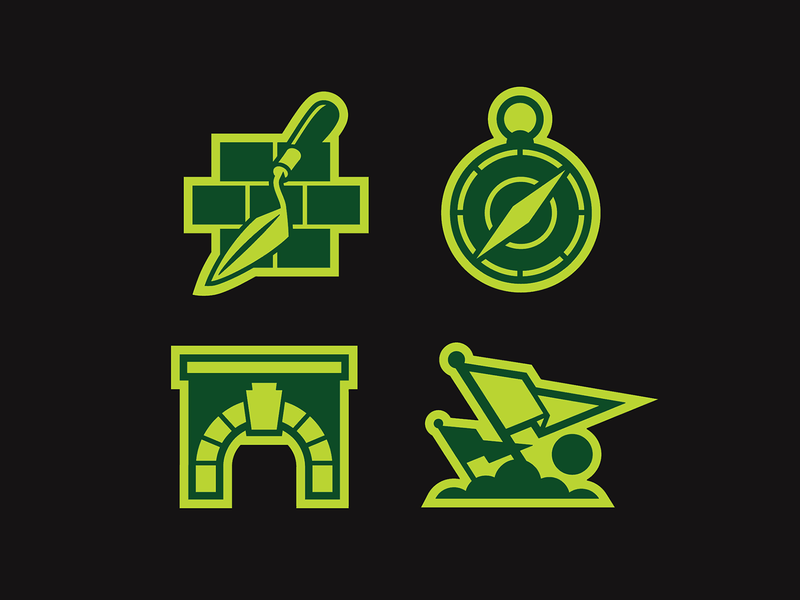 Foundation Icons illustration icons trowel sun cloud flag keystone compass bricks