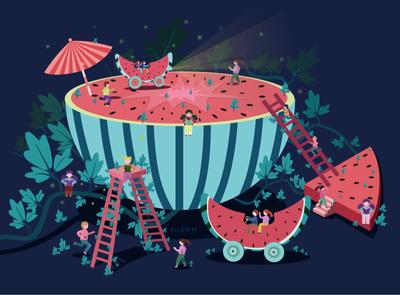 A naughty watermelon.    7    1